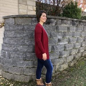 Sweaters - Open Front Cardigan | Bright Cranberry